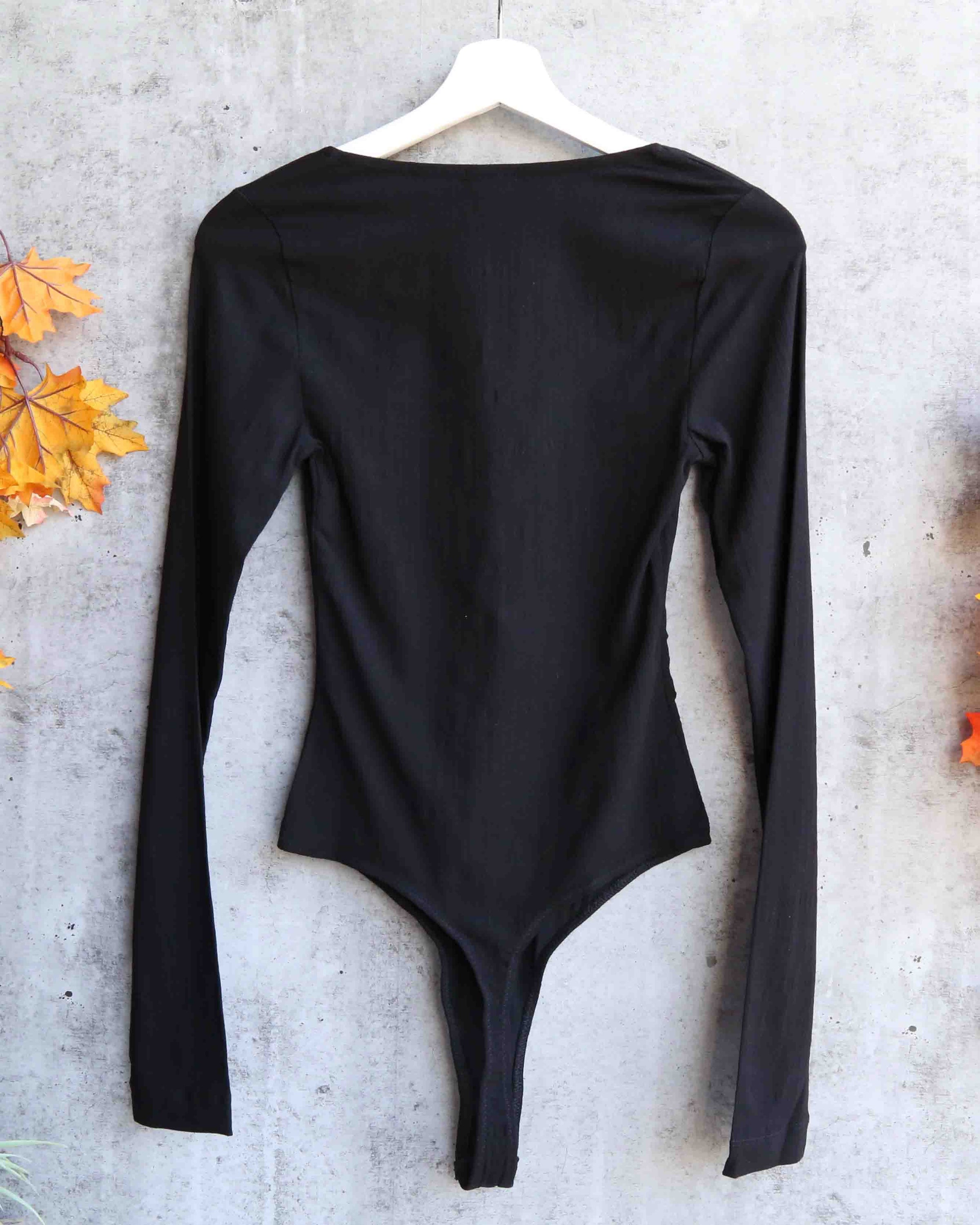 737b292dba Free People - Zoe Long-Sleeve Thong Bodysuit - Black