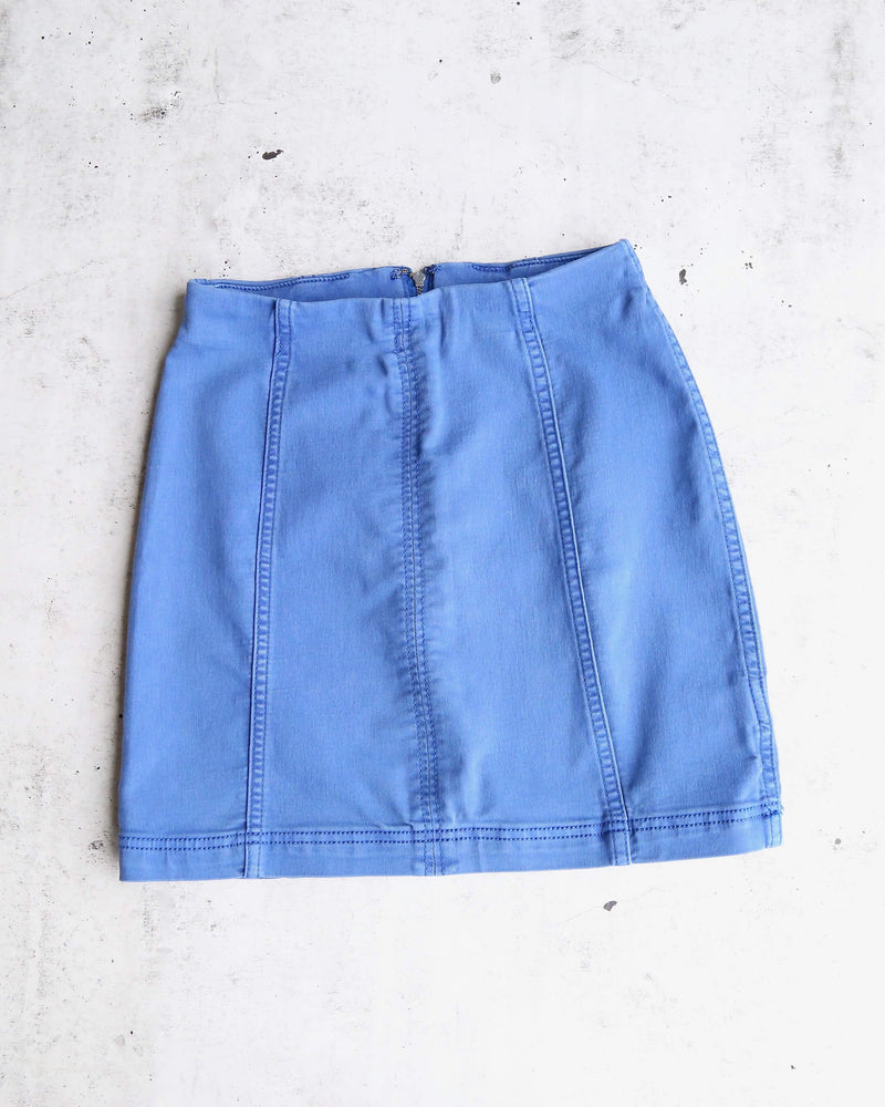 Free People - Modern Femme Novelty Mini Denim Skirt in Turquoise/Lapis Lazuli