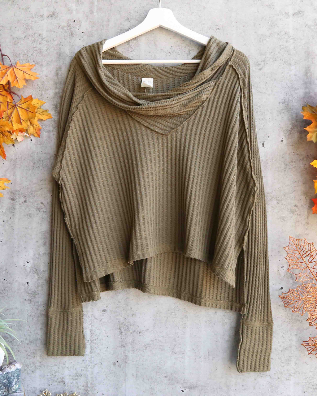 Free People - wildcat relax dolman cowl neck thermal top - moss / military green