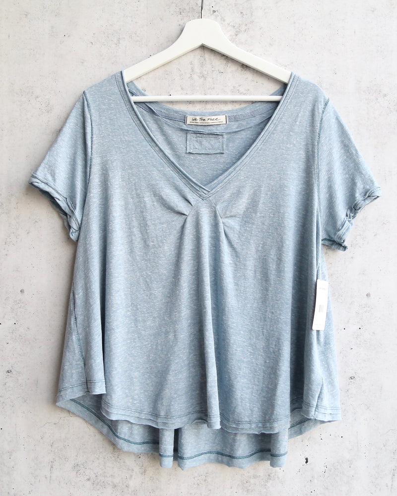 Free People All You Need Ruched V-Neck Tee - Ocean Blue Shade Green