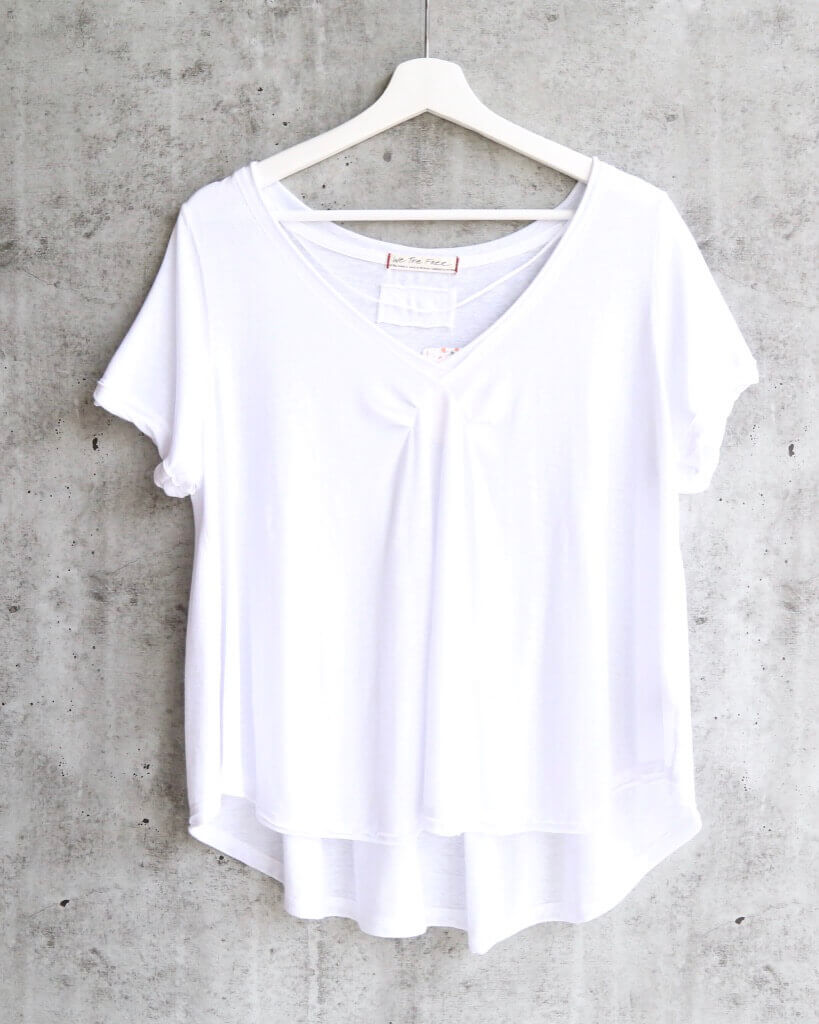 Free People All You Need Ruched V-Neck Tee - White