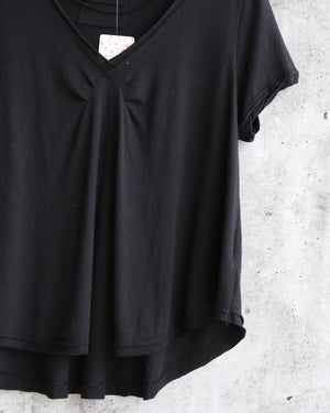 Free People All You Need Ruched V-Neck Tee - Black