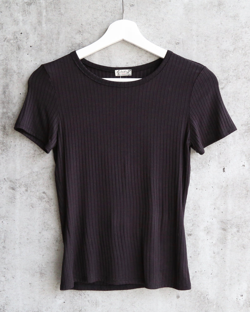 Free People Baby Rib Knit Tee in Black