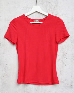 Free People Baby Rib Knit Tee in Red