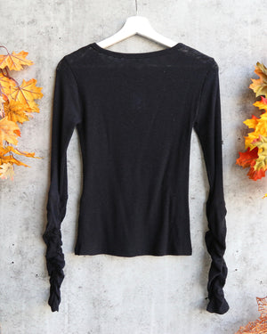 Free People Boundary Long Sleeve Layering Tee - black