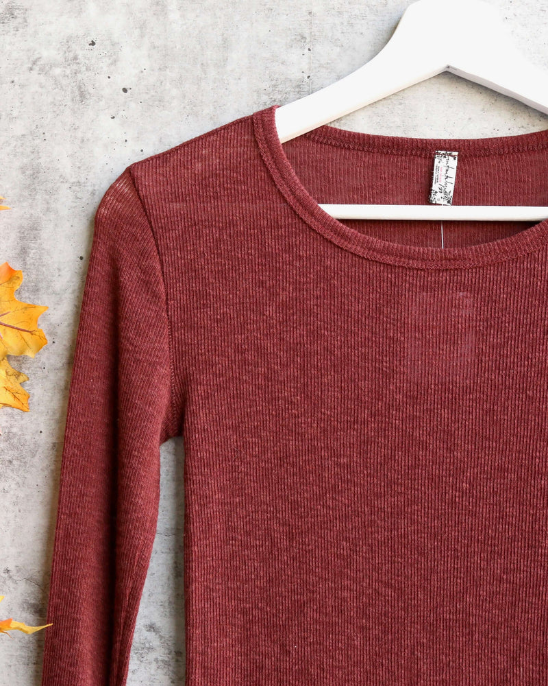 Free People Boundary Long Sleeve Layering Tee - chestnut
