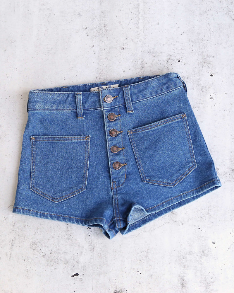 Free People Bridgette Denim Short Shorts in Pacific Indigo Blue