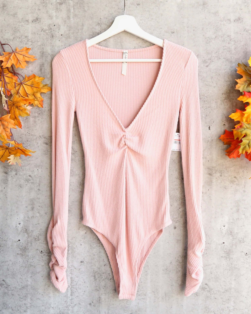 Free People Cozy Up With Me Knitted Bodysuit - Pink Salt