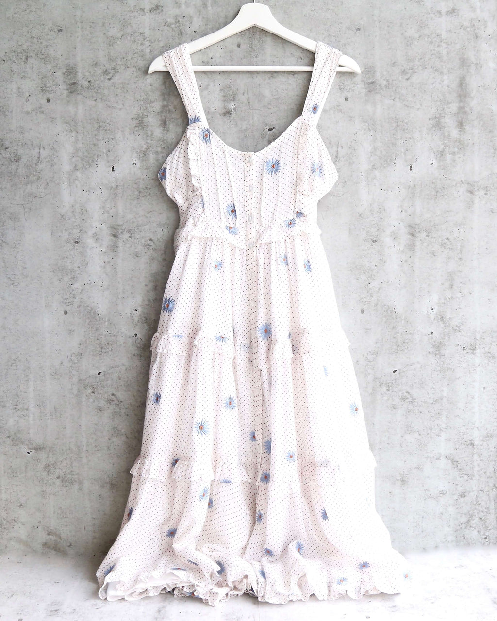 Free People Daisy Chain Button Up Midi Dress in White / Ecru Combo