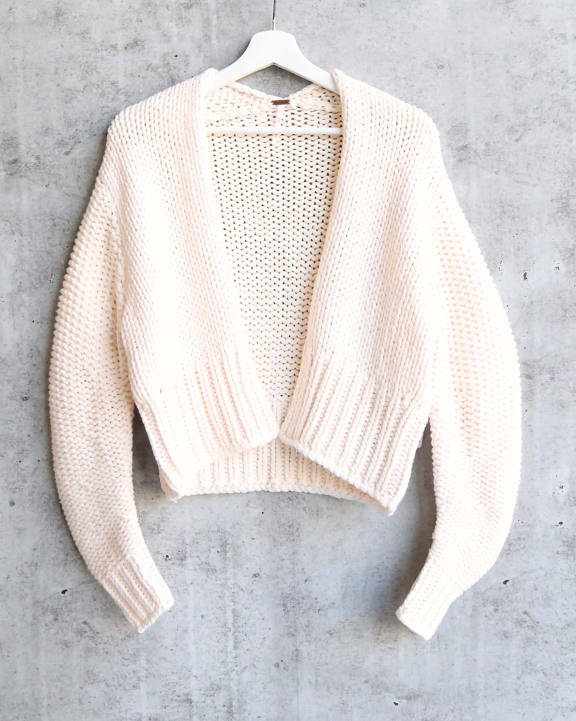 117d3fb6e2 Free People Glow For It Chunky Knit Open Front Ribbed Hem Cardi in Ivo