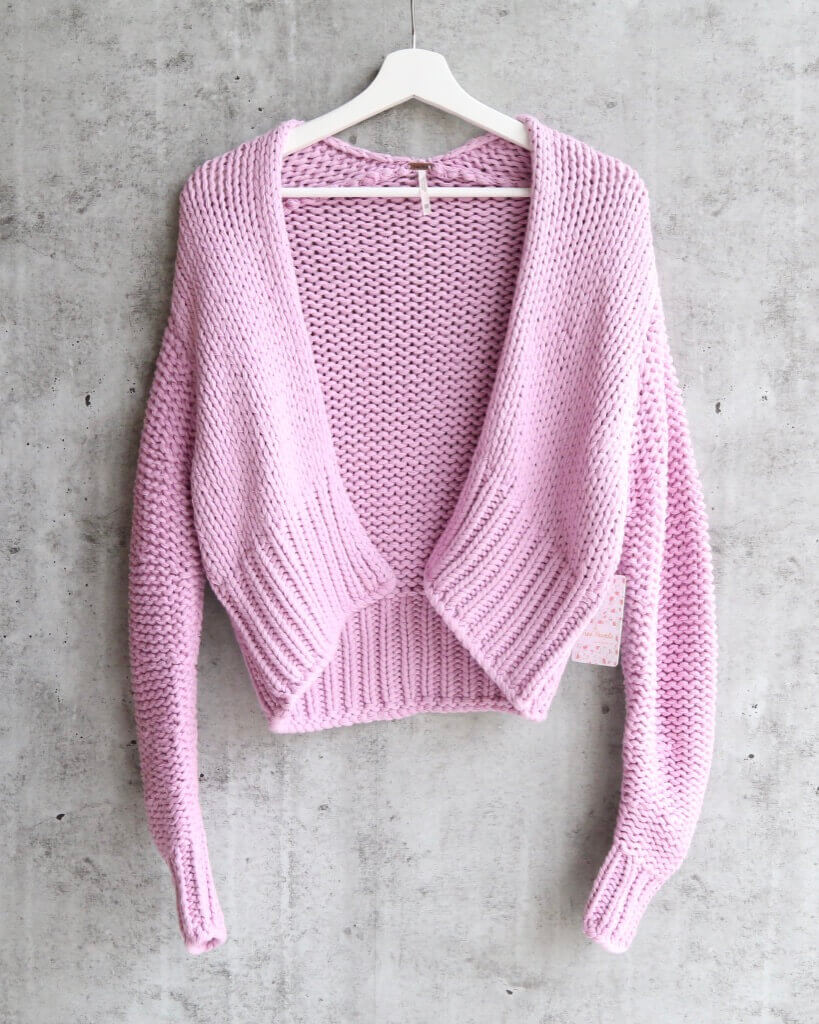 8a314a09f0 Free People Glow For It Chunky Knit Open Front Ribbed Hem Cardi in Lav
