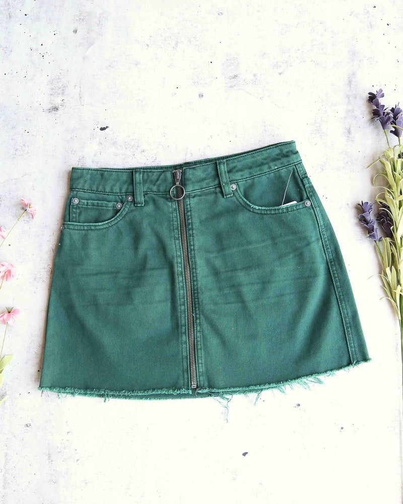 Free People - front zip it up denim mini skirt with frayed hem - wilderness green