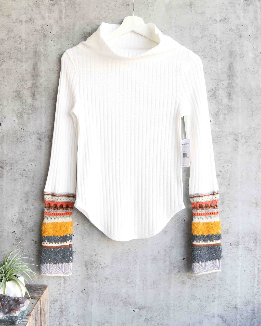 Free People - Mixed Up Cuff Thermal Sweater Top in Ivory