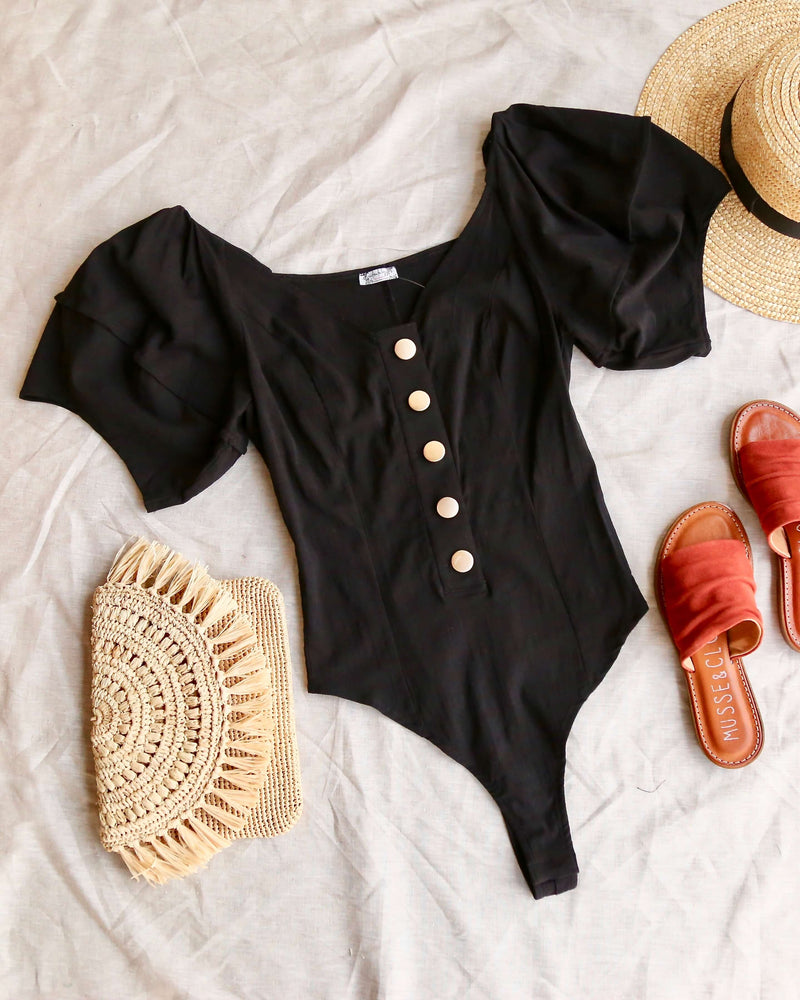 Free People Not so Basic Bodysuit in Black