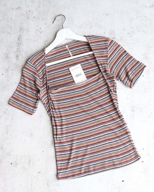 Free People Striped Wild Square Neck Retro Inspired Tee in Grey