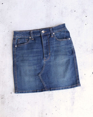 Free People Teagan Denim Mini Skirt in Dark Denim