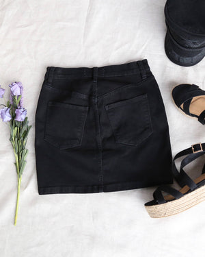 Free People Teagan Denim Mini Skirt in Worn Black