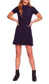 Free People - Lottie Ribbed Knit Mini Dress - Navy