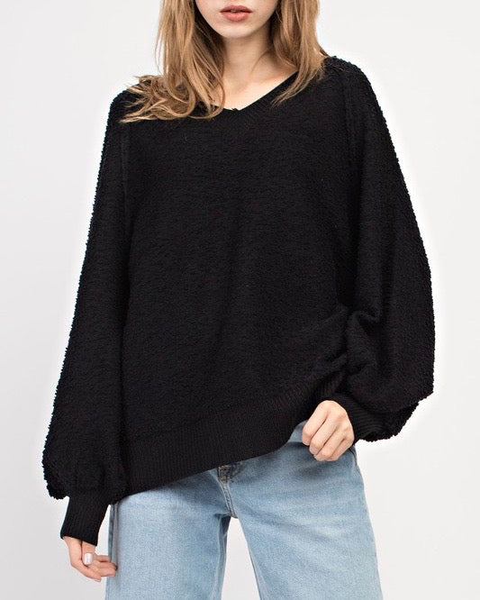 Fuzzy V-Neck Bubble Sleeve Sweater - Black