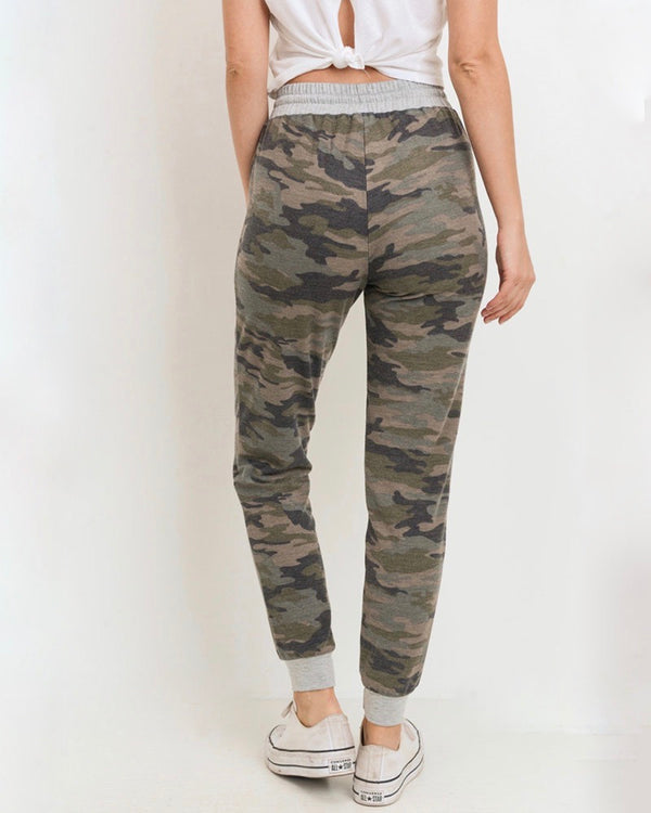 Camo Print Joggers with Elasticized Drawstring Waist in Green/Grey