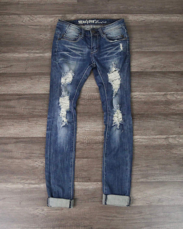 Final Sale - 5th Street Distressed Skinny Denim Jeans in Medium Wash