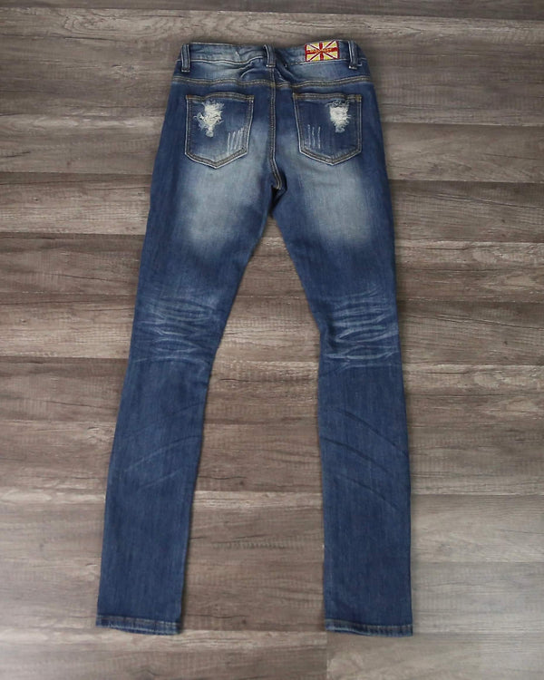 Final Sale - Arielle Blue Destroyed Skinny Jeans - Medium Denim
