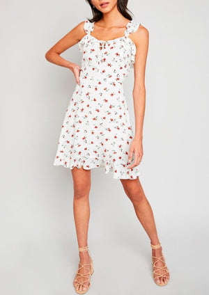 Final Sale - One Look Floral Ruffle Mini Dress in Off White