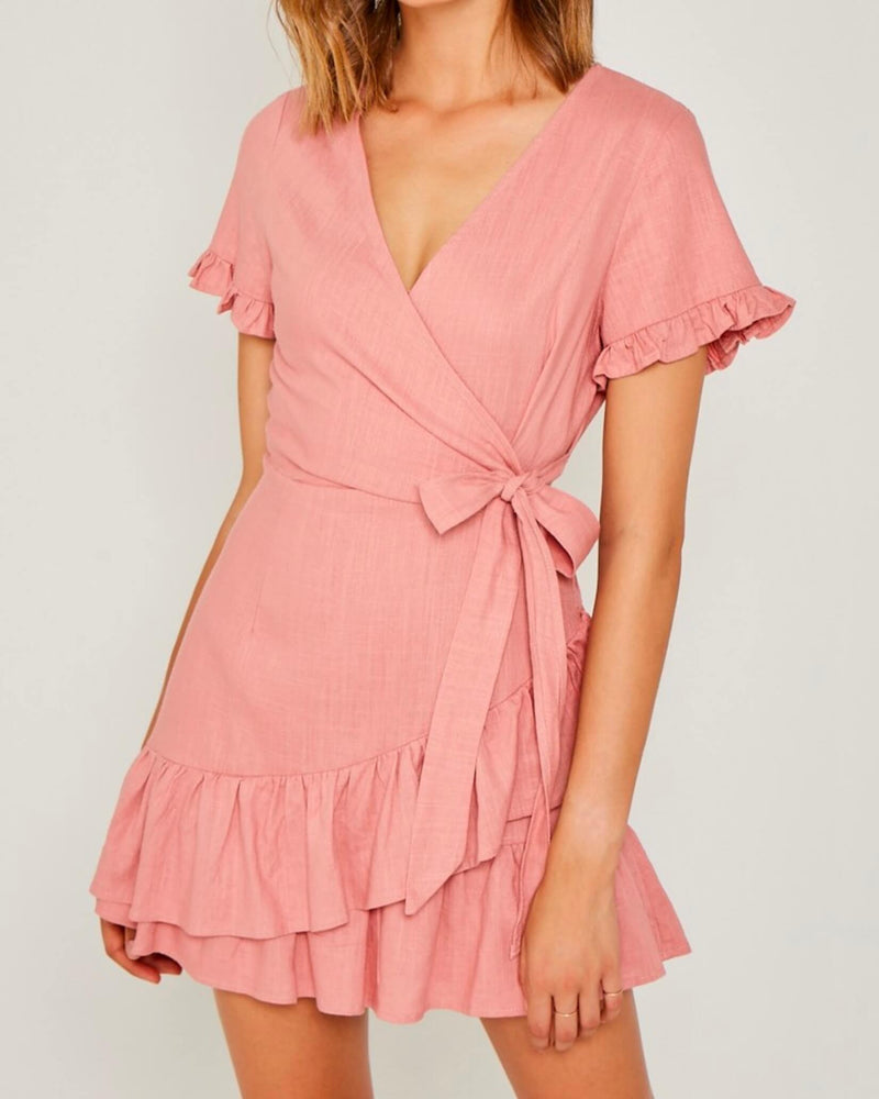 Final Sale - Dream to Me Linen Ruffle Mini Wrap Dress in Blush