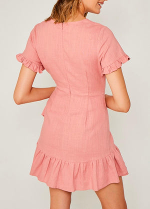 Dream to Me Linen Ruffle Mini Wrap Dress in Blush