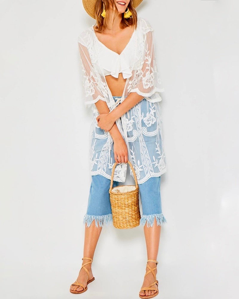 Sheer Lace Tie Front Kimono in Off White