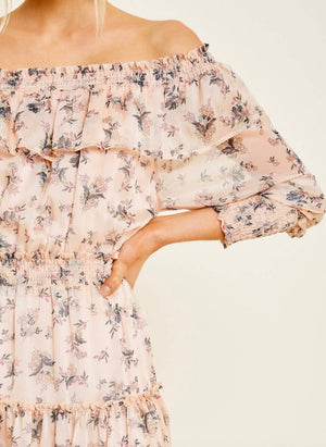 Sweet Talk Floral Off the Shoulder Mini Dress in Blush