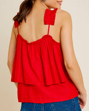 Strangers Tiered Pleated Strap Tank Top in Red