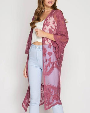 Anabelle Crochet Lace Midi Duster Cardigan in More Colors