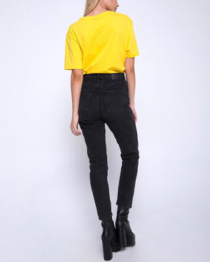 Final Sale - Motel - Hate Mail Oversized Basic Tee in Yellow