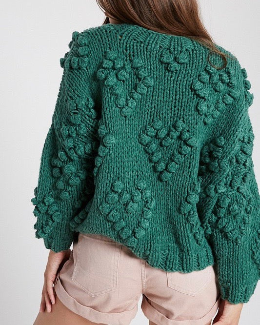 Heart On My Sleeves Handmade Relaxed Open Knit Knitted Sweater in Green