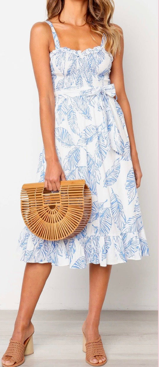 Heidi leaf print midi smocked top day dress in white/blue
