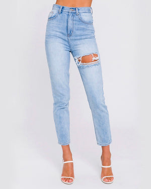 Heather High Waisted Distressed Mom Jeans in Denim