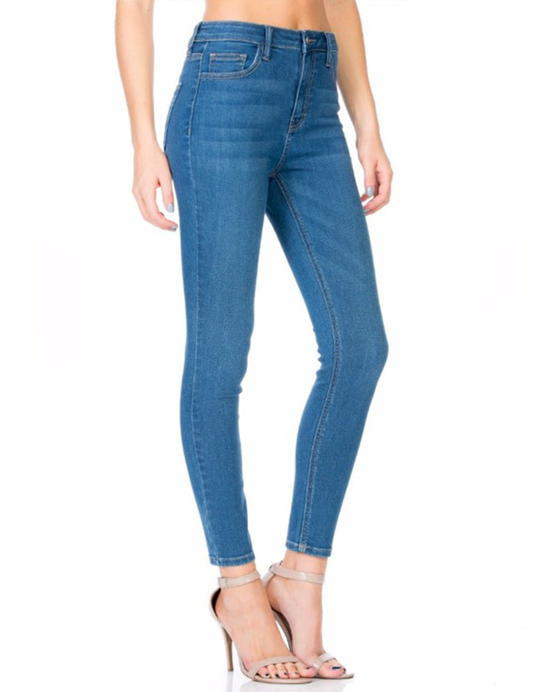Sheila - High Rise Basic Ankle Skinny Jean - Medium Blue