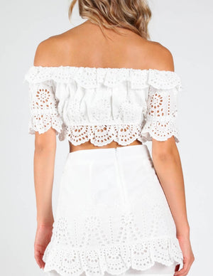 Honey Punch - Eyelet Off-The-Shoulder Crop Top in White
