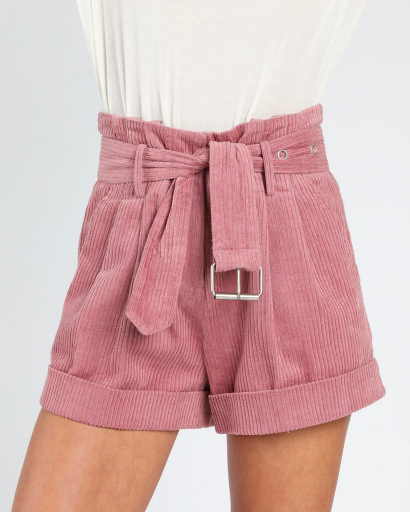 Honey Punch - Grace Corduroy Paper Bag Short - Mauve