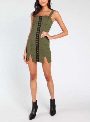 Honey Punch - Katy Hook & Eye Dress in Olive Green