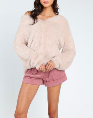 Honey Punch - Luna off shoulder fuzzy sweater - Taupe