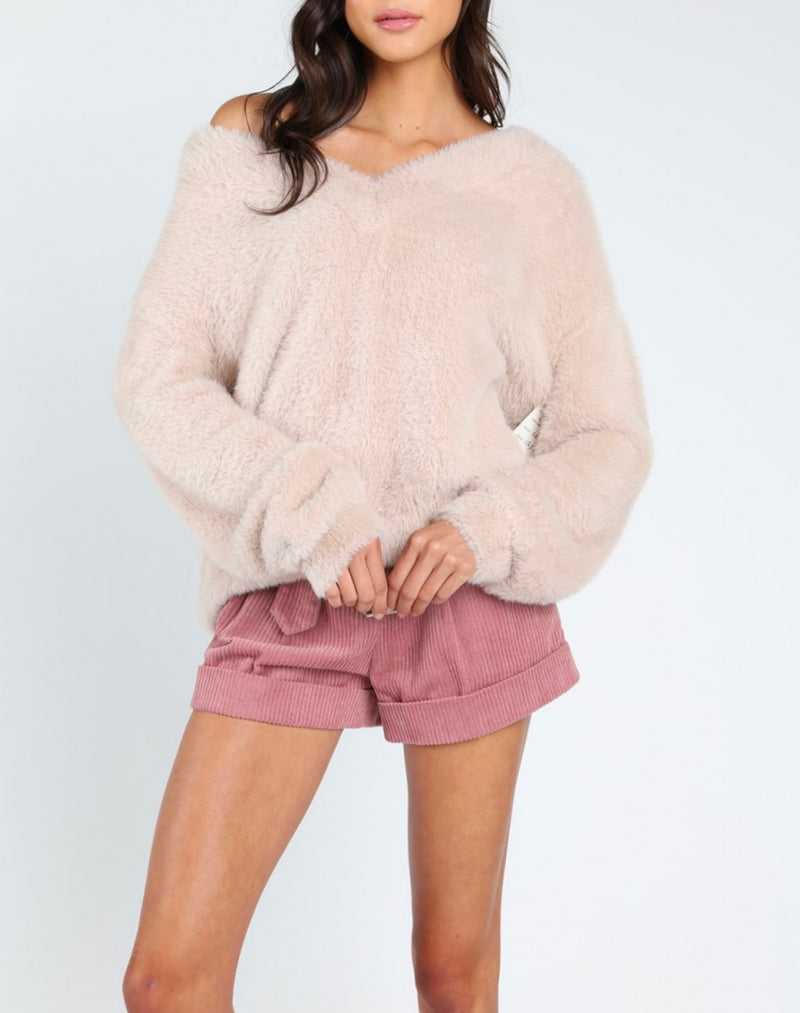 Final Sale - Honey Punch - Luna Off the Shoulder Fuzzy Sweater - Taupe