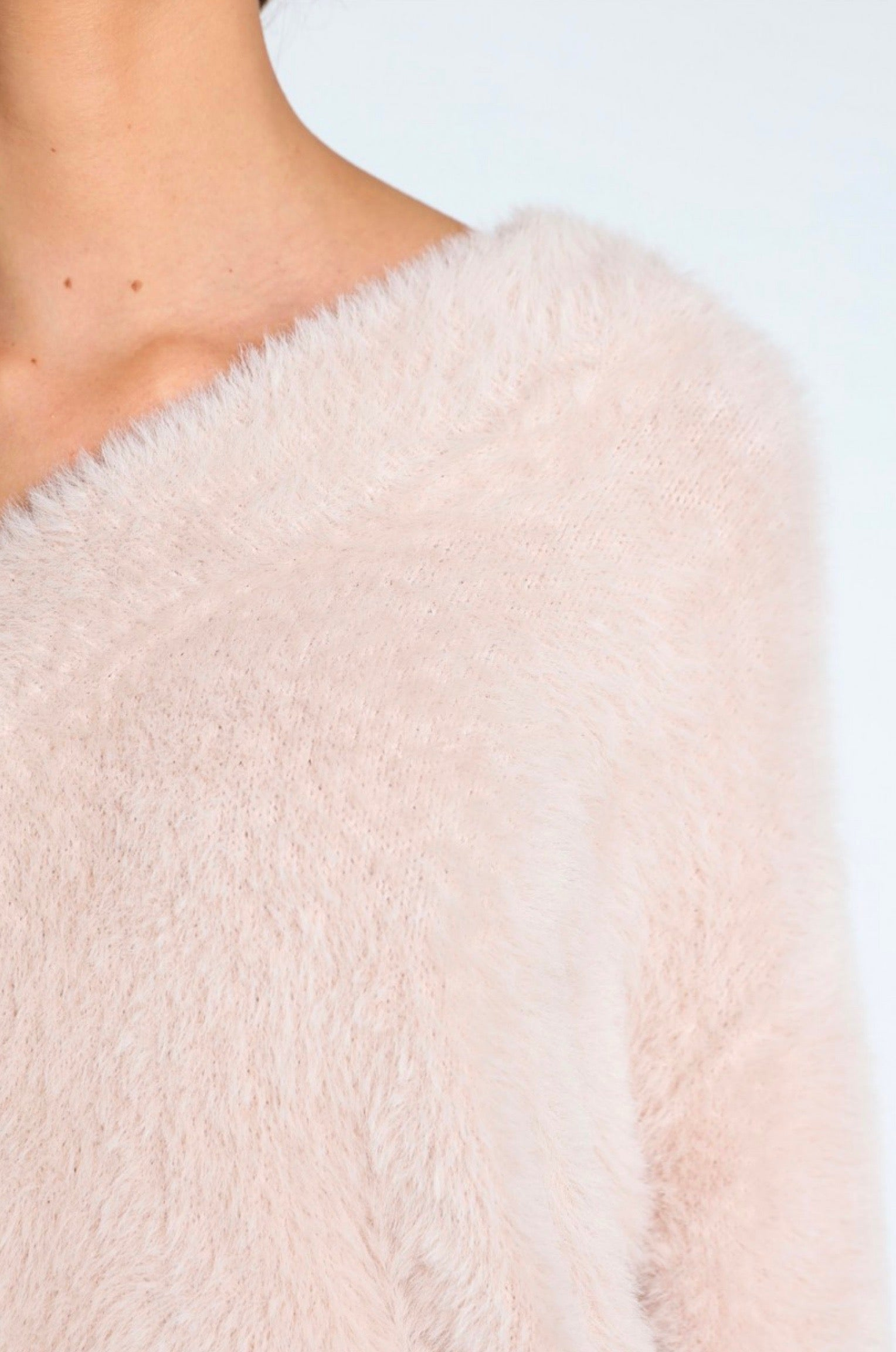bb0e386cdbf4b Honey Punch - Luna off shoulder fuzzy sweater - Taupe