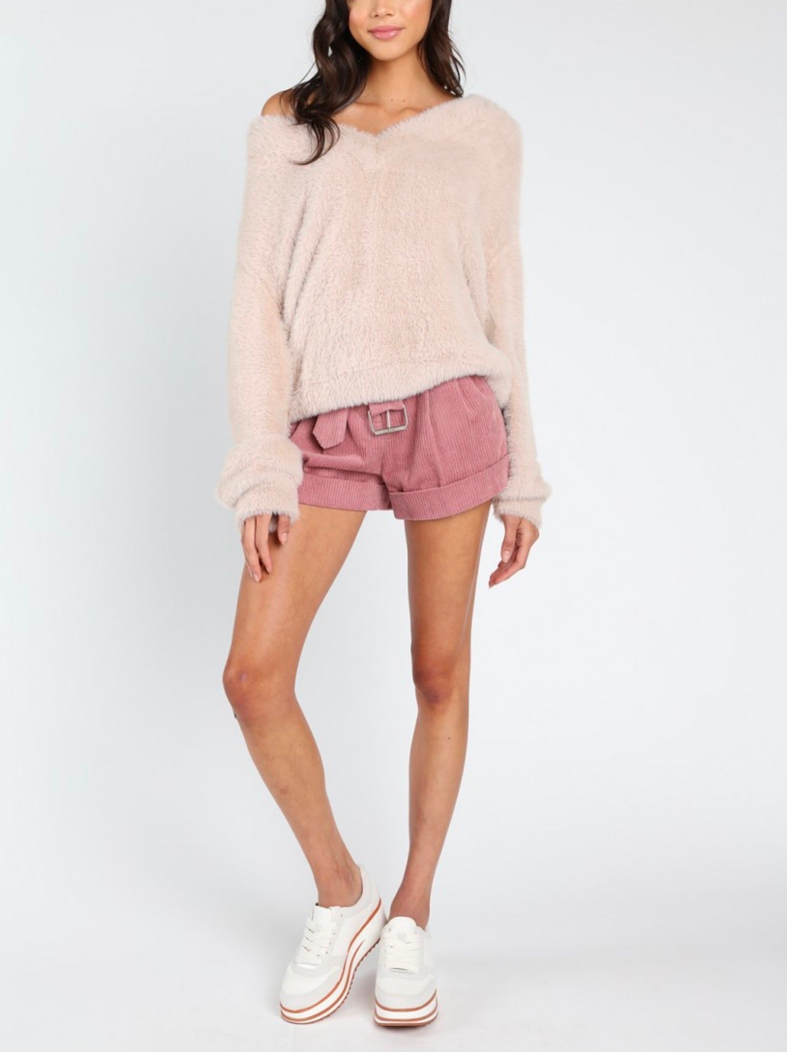 436641abbcb36 Honey Punch - Luna off shoulder fuzzy sweater - Taupe - M