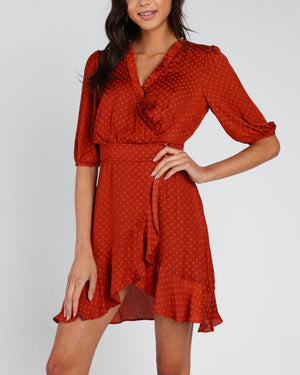 Honey Punch - Mariposa monochromatic polka dot print wrap dress - Rust
