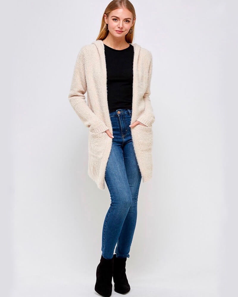Fur Wonderland Hooded Fuzzy Longline Cardigan with Pockets - Cream