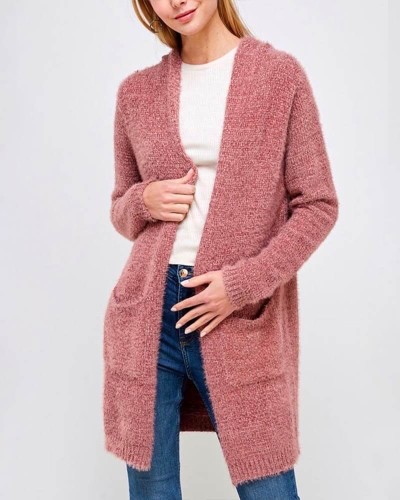 Fur Wonderland Hooded Fuzzy Longline Cardigan with Pockets - Marsala