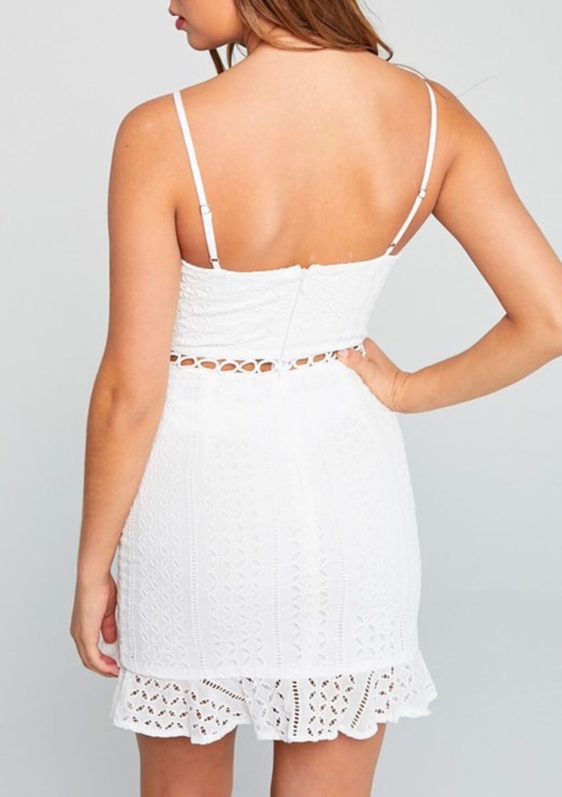 Tea Time Crochet Front Ruffle Dress in Off White