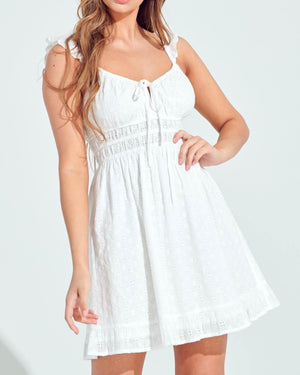 Tied to You Ruffled Embroidery Dress in More Colors